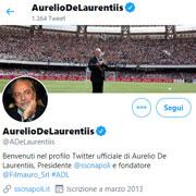 """De Laurentiis su Twitter: """"Grande squadra!"""""""